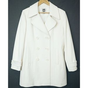 Ann Klein White Wool Blend Double Breasted Peacoat
